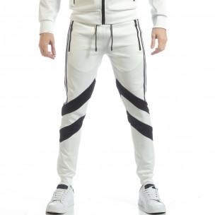 Pantaloni sport de bărbați albi cu V benzi  2