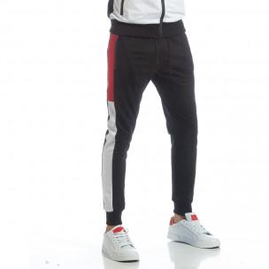 Pantaloni de trening de bărbați negri cu benzi