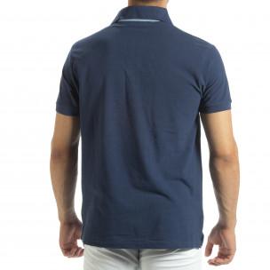 Polo shirt albastru pentru bărbați  2