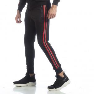 Pantaloni de trening negri cu benzi pentru bărbați