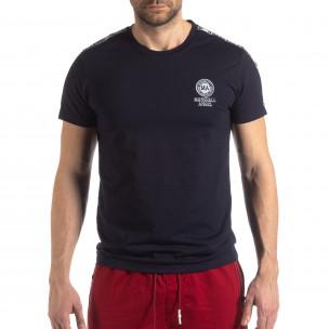 Tricou de bărbați albastru marin cu logo și bandă  2