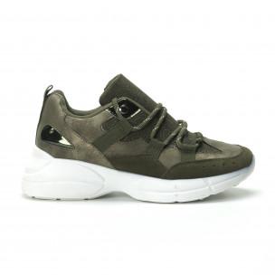 Pantofi sport de dama în verde militar 2