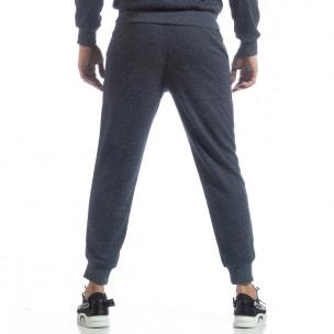 Pantaloni sport în melanj albastru de bărbați  2