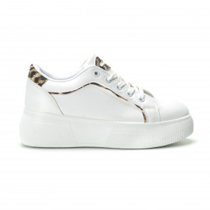 Teniși albi de dama Animal print