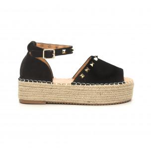 Sandale de dama negre cu capse tip espadrile