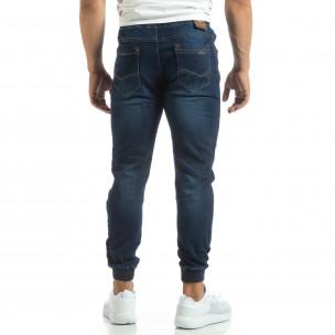 Blugi subțiri albaștri de bărbați cu manșete din tricot 2