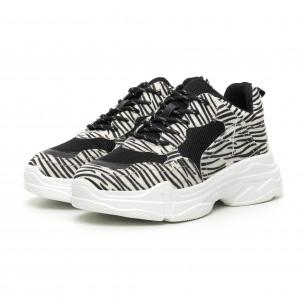 Pantofi sport de dama Chunky motiv zebră 2
