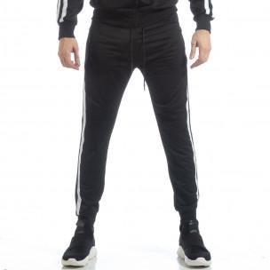Pantaloni sport de bărbați Biker negri cu benzi albe  2