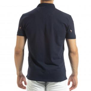 Polo shirt bleumarin de bărbați motiv Flamingo   2