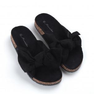 Papuci pentru dama negri cu fundă 2