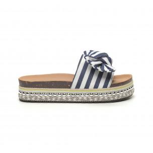 Papuci de dama cu dungi albastre