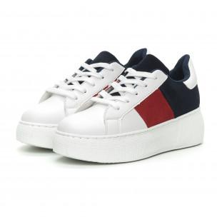Teniși în alb, roșu și albastru cu platforma pentru dama  2