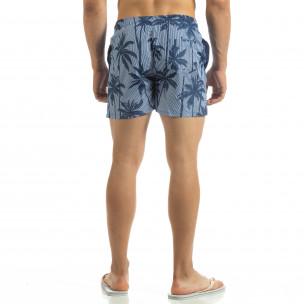 Costum de baie în dungi de bărbați motiv Palm pe albastru 2