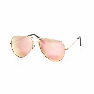 Ochelari de soare Aviator cu lențile roz deschis tip oglindă
