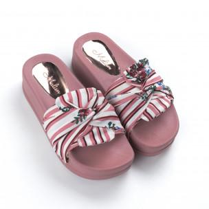 Papuci de dama din satin roz cu platformă 2