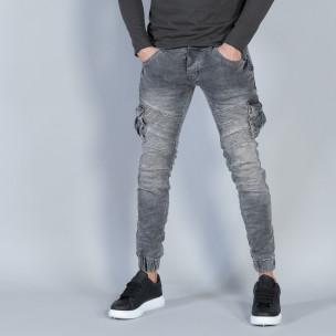 Cargo Jeans gri pentru bărbați