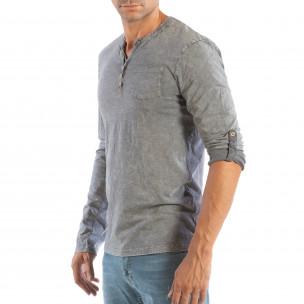Bluză gri pentru bărbați House cu nasturi 2