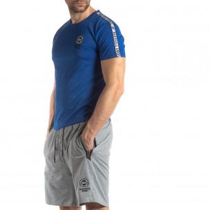 Tricou de bărbați albastru cu logo și bandă