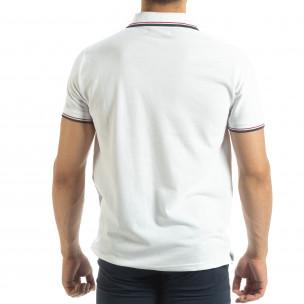 Tricou polo shirt alb pentru bărbați  2