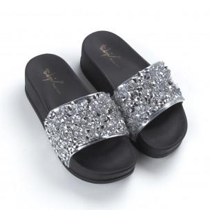 Papuci de dama argintii cu platformă 2