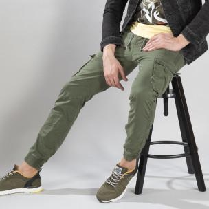 Pantaloni cargo de bărbați verzi cu manșete din tricot