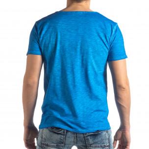 Tricou albastru deschis de bărbați stil Vintage  2