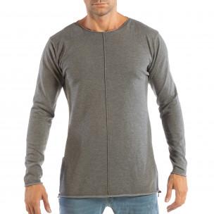 Bluză gri din material tricotat cu fermoare pentru bărbați