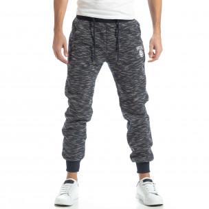 Pantaloni sport groși în melanj albastru pentru bărbați  2
