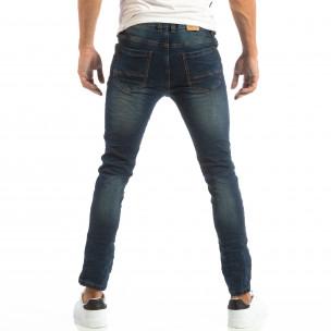 Slim Jeans în albastru cu efect șifonat  2