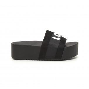 Papuci de dama negri LOVE cu platformă