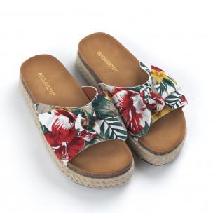 Papuci de dama cu print floral și fundă 2