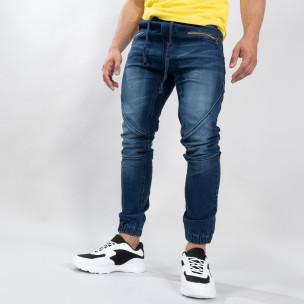 Blugi albaștri tip Biker pentru bărbați LEGGENDARIO