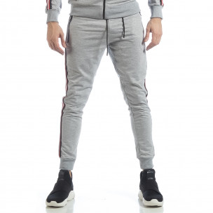 Pantaloni de trening 5 striped gri pentru bărbați   2
