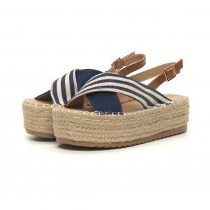 Sandale de dama albastre tip espadrile 2