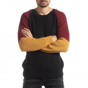 Pulover pentru bărbați în negru, galben și roșu