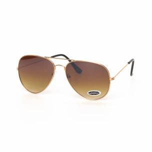 Ochelari de soare maro tip Aviator