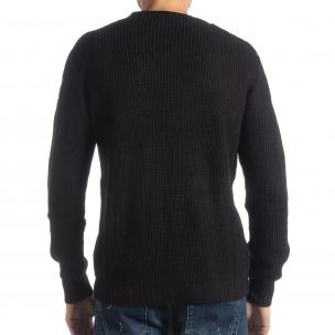 Pulover negru tricotat pentru bărbați 2
