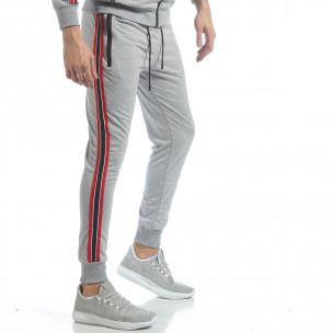 Pantaloni de trening gri cu benzi pentru bărbați