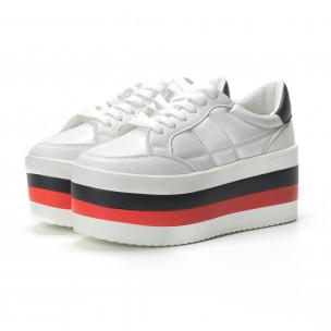 Teniși albi cu platforma înaltă pentru dama 2