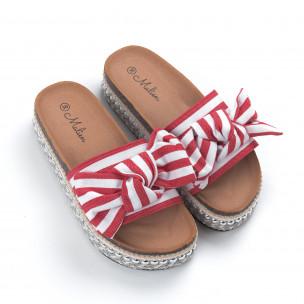 Papuci de dama cu dungi roșii 2