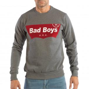 Bluză gri matlasată pentru bărbați cu imprimare