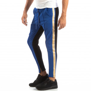 Jogger pentru bărbați în albastru și negru cu benzi și fermoare  2