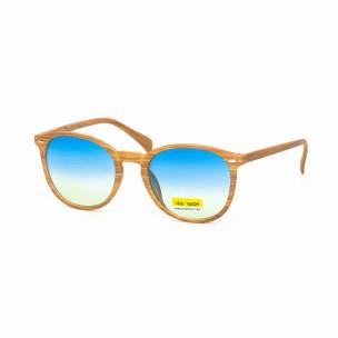 Ochelari de soare cu lențile albastre și rama motiv de lemn