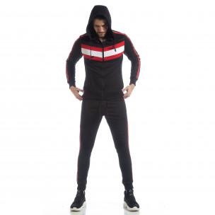 Set sportiv negru pentru bărbați cu glugă și benzi