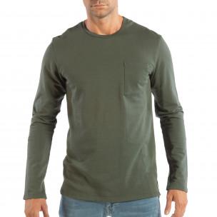 Bluză pentru bărbați verde basic din bumbac