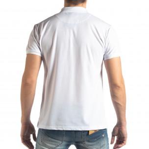 Tricou polo alb Marshall Militare pentru bărbați  2