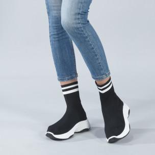 Pantofi sport tip șosetă negri pentru dama