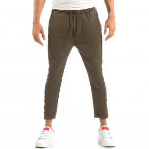 Pantaloni ușori în verde cu benzi pentru bărbați  2