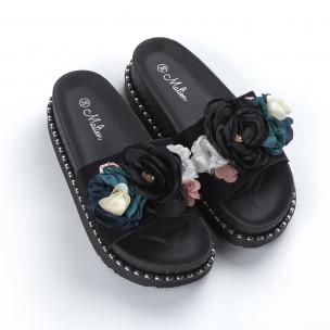Papuci pentru dama negri cu flori 2