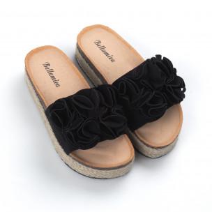 Papuci de dama negri talpă căptuşită cu iută 2